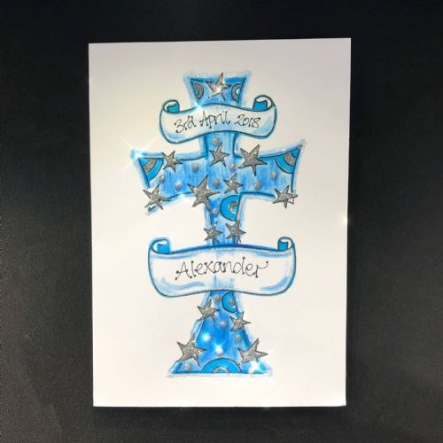 Cross with Banners; Blue or Pink